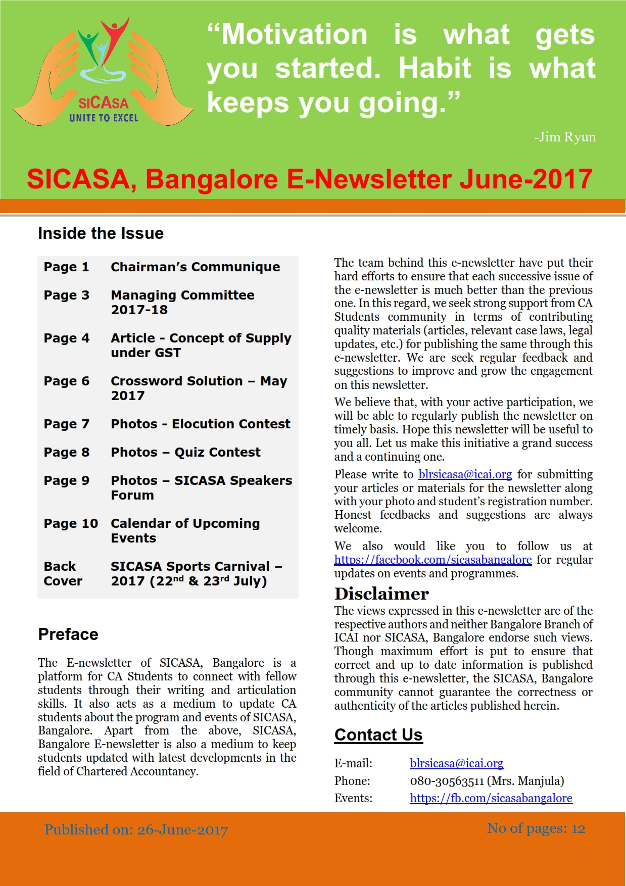 Cover of June 2017 SICASA Newsletter