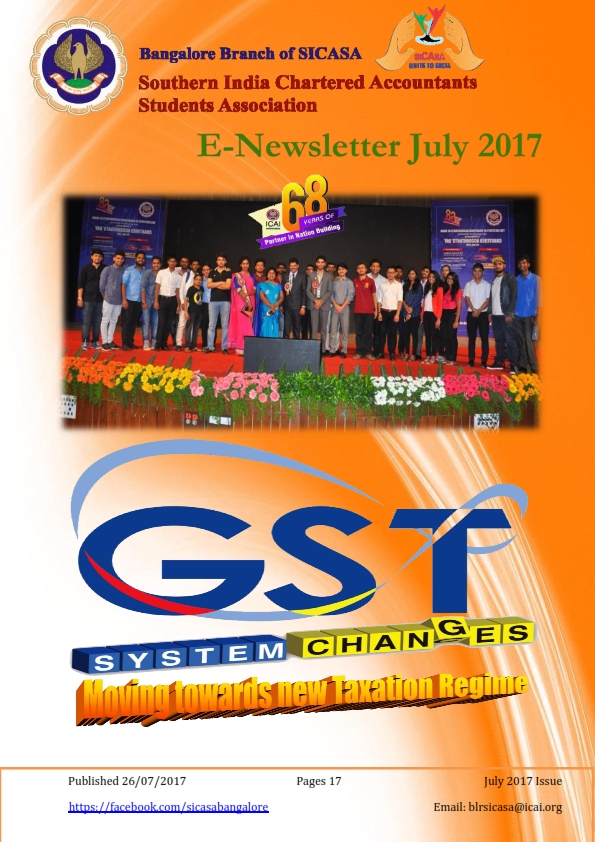 Cover of July 2017 SICASA Newsletter